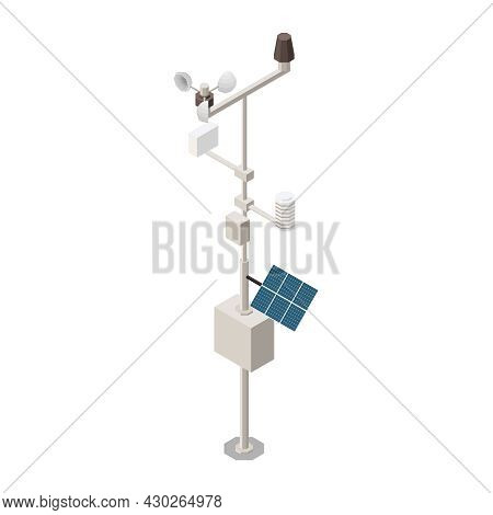 Meteorology Weather Forecast Isometric Composition With Isolated Image Of Modern Weather Vane Vector