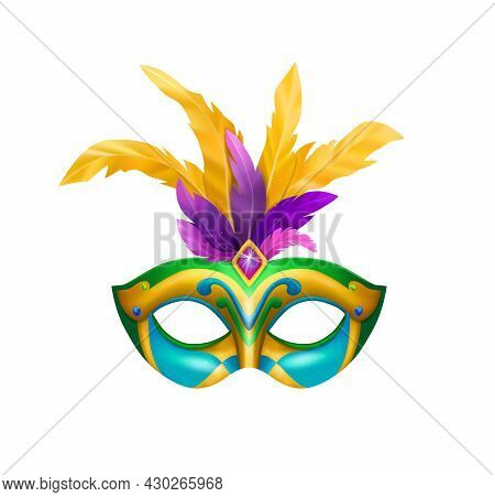 Realistic Carvinal Mask Composition With Isolated Image Of Masquerade Mask With Bright Colors And Fe