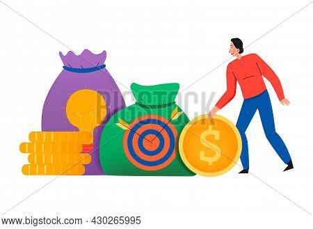 Crowdfunding Composition With Flat Icons Of Coin Stacks And Money Sacks With Target Sign Vector Illu