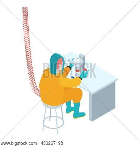 Isometric Infectious Disease Doctor Scientist Virologist Composition With Worker In Protection Suit
