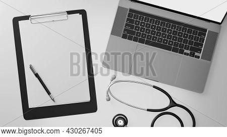 Top View, Closeup, Laptop Mockup, Blank Medical Clipboard Sheet, Stethoscope