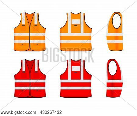 Safety Reflective Vest Icon Sign Flat Style Design Vector Illustration Set. Orange And Red Fluoresce