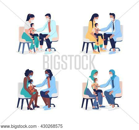Pediatric Examination Semi Flat Color Vector Characters Set. Full Body People On White. Family Physi