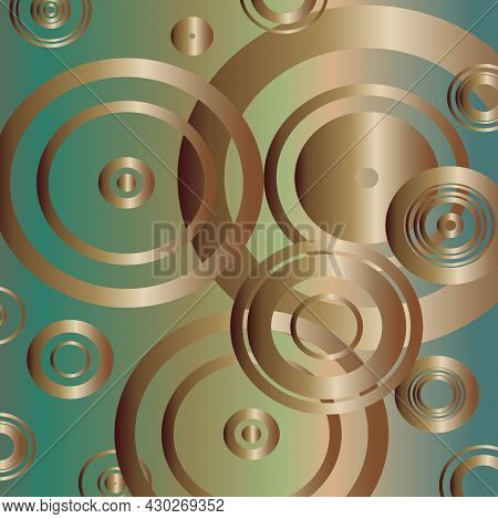 Pattern With Bronze Circles On Green Background