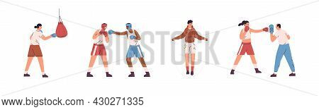 Set Of Boxers Training With Trainer And Fighting. People Punching Box Fighters And Opponents, Hittin