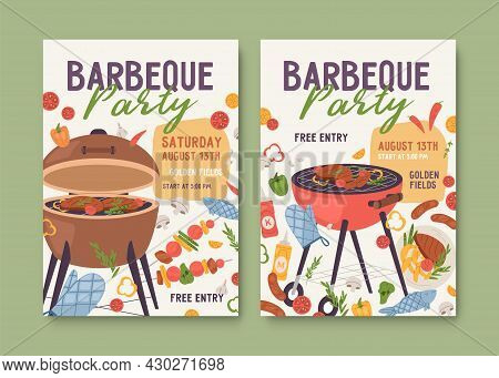 Flyer Templates For Summer Bbq Party. Ad Poster Designs With Barbecue Grills And Food. Vertical Invi