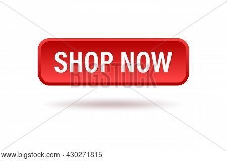 Shop Now Text On Red Button Icon Vector For Graphic Design, Logo, Web Site, Social Media, Mobile App