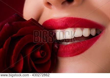 Lips With Lipstick Closeup. Beautiful Woman Lips With Smile. Close-up Beautiful Female Lips With Bri