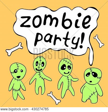 A Poster, A Halloween Card With Cute Funny Contour Zombies And The Inscription-zombie Party. Festive