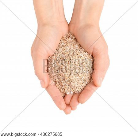 Woman With Pile Of Wheat Bran On White Background, Top View