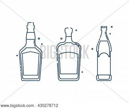 Bottle Whiskey And Liquor Beer Line Art In Flat Style. Restaurant Alcoholic Illustration For Celebra