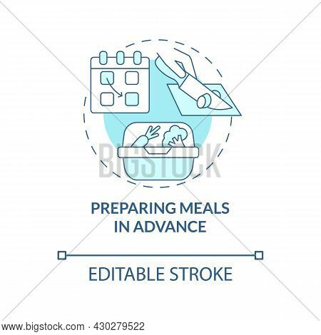 Preparing Meals In Advance Blue Concept Icon. Prep Foods Ahead Abstract Idea Thin Line Illustration.