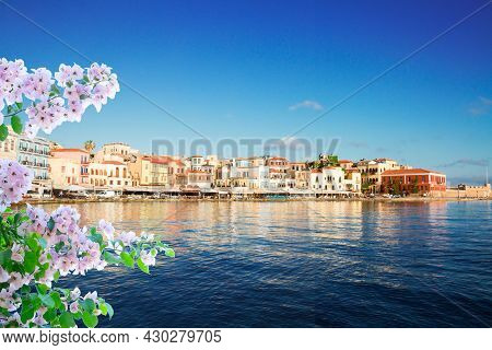 Venetian Habour Of Chania Old Town At Sunny Day With Flowers, Crete, Greece