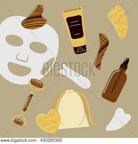 Beauty Skin Care Concept Of Oil Bottle, Cream, Facial Mask, Gua Sha Stones, Rollers Are Made Of Whit