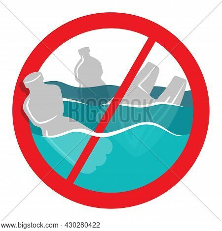 Stop Ocean-clogging Red Prohobit Sign With Different Plastic Waste. Environment Protection Eco-frien