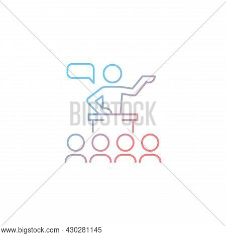 Public Communication Gradient Linear Vector Icon. Sharing Information To Audience. Conferences, Semi