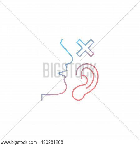 Language Disabilities Gradient Linear Vector Icon. Physiological Barriers To Communication. Sensory
