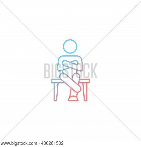 Closed Body Language Gradient Linear Vector Icon. Crossed Legs, Arms. Showing Discomfort. Nonverbal