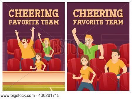 Cheering Favorite Team Posters With People On Stadium With Red Chairs. Vector Banners Of Sport Fan G