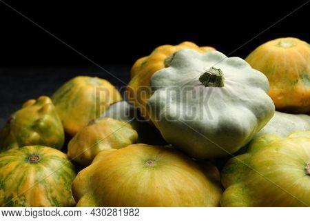 Fresh Ripe Pattypan Squashes On Dark Background, Closeup
