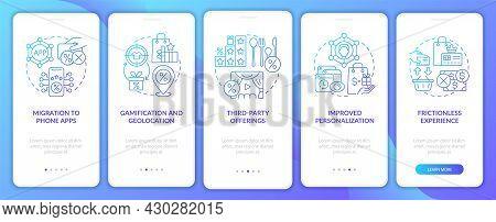 Loyalty Programs Trends Blue Gradient Onboarding Mobile App Page Screen. Tendencies Walkthrough 5 St