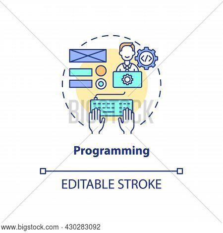 Programming Concept Icon. Ux Design Abstract Idea Thin Line Illustration. Interactive Prototypes Cre
