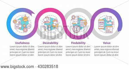Ux Basics Vector Infographic Template. Usefulness, Desirability Presentation Outline Design Elements
