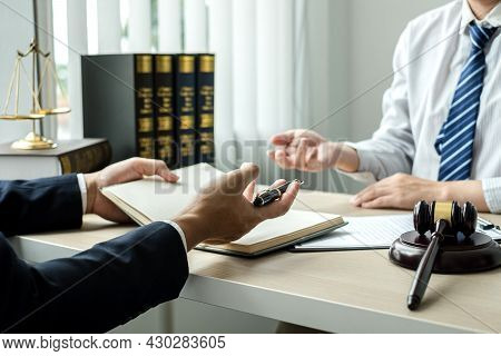Male Lawyers Or A Judge Counseling Clients About Judicial Justice And Prosecution With Scales, Judge