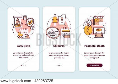 Maternity Leave Entitlement Cases Onboarding Mobile App Page Screen. Labor Risks Walkthrough 3 Steps