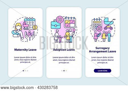 Maternity Leave Types Onboarding Mobile App Page Screen. Adoption, Surrogacy Walkthrough 3 Steps Gra