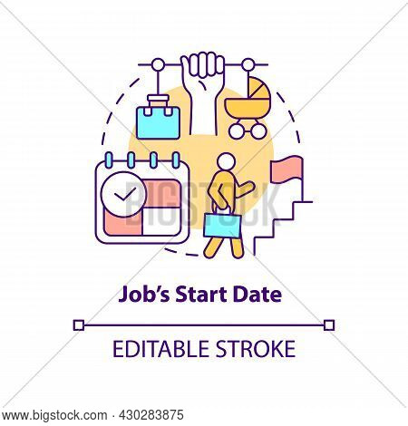 Job Start Date Concept Icon. Return To Work After Maternity Leave Abstract Idea Thin Line Illustrati