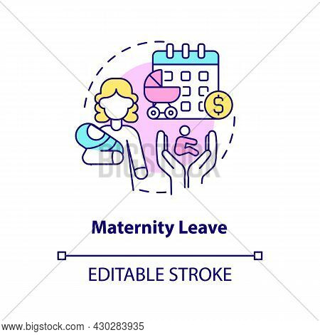 Maternity Leave Concept Icon. Maternity Rights And Allowance Abstract Idea Thin Line Illustration. P