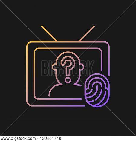 Online Investigation Show Gradient Vector Icon For Dark Theme. True Crime Series. Suspense Genre On