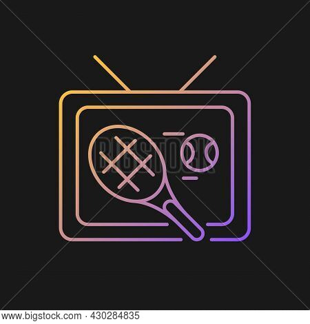 Sports Show Gradient Vector Icon For Dark Theme. Tennis Competition Broadcast. Tv Series And Program
