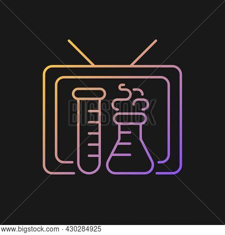 Scientific Show Gradient Vector Icon For Dark Theme. Educational Tv Series For Learning Science. Che