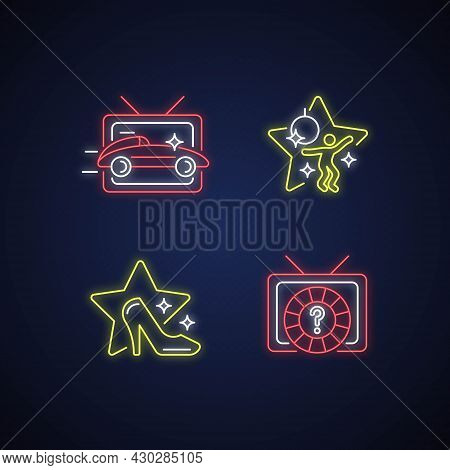 Tv Genres Neon Light Icons Set. Car Racing Broadcast. Dancing Competition. Fashion Program. Game Sho