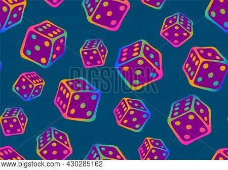 Bright Doodle Game Seamless Pattern With Repeated Iridescent Cubes For Board Plain. Perfect For Deco