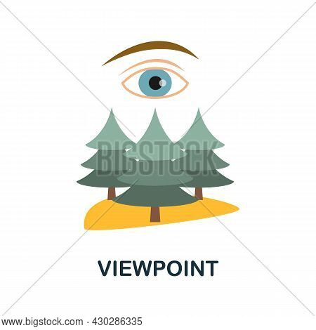 Viewpoint Flat Icon. Colored Sign From Excursions Collection. Creative Viewpoint Icon Illustration F