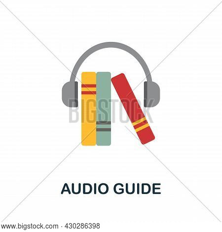 Audio Guide Flat Icon. Colored Sign From Excursions Collection. Creative Audio Guide Icon Illustrati