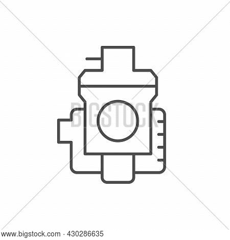 Motorcycle Carburetor Line Outline Icon Isolated On White