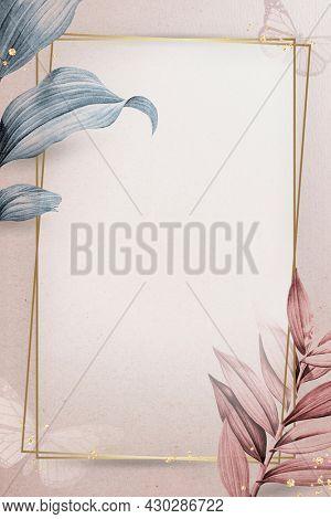 Golden frame on leafy background illustration
