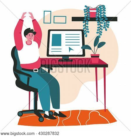 Different People Exercise In The Workplace Scene Concept. Man Does Warm Up, Arms Raised, Sits On Cha
