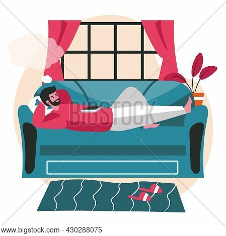 Dreaming People Scene Concept. Man Lies On Couch Dreaming With Empty Bubble Over His Head. Imaginati