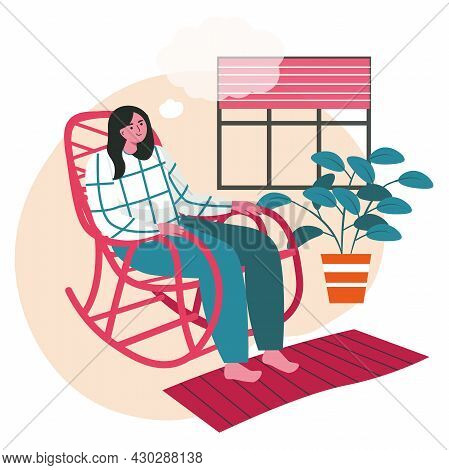 Dreaming People Scene Concept. Woman Sitting In Rocking Chair And Thinking With Empty Bubble Over He