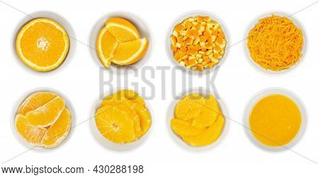 Fresh And Processed Oranges, In White Bowls. Orange Half, Wedges, Cutted Peel, Zest, Segments, Cross