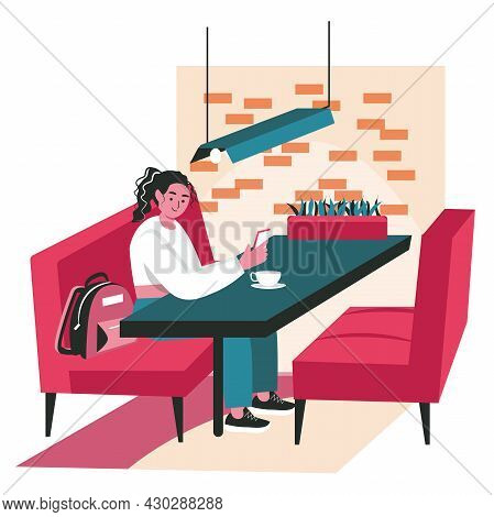 People Use Smartphones In Different Locations Scene Concept. Woman Sits In Cafe And Browsing At Mobi