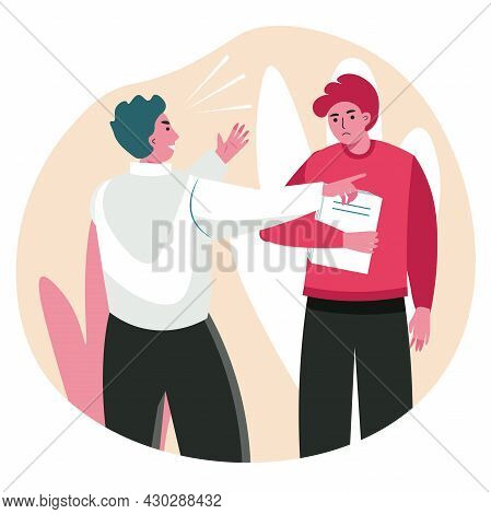 Rudeness In A Business Team Scene Concept. Boss Yells At Employee. Colleagues Shout At Each Other An
