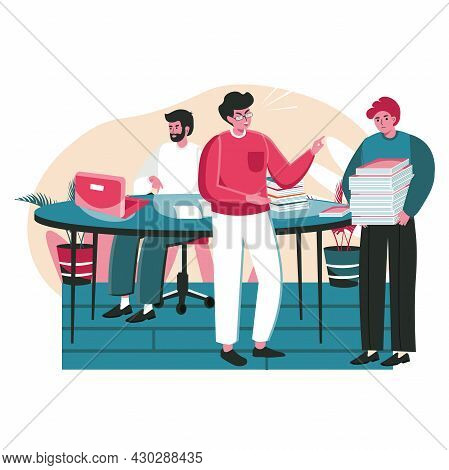 Rudeness In A Business Team Scene Concept. Manager Yells At Employee. Overworked Man Stands With Sta