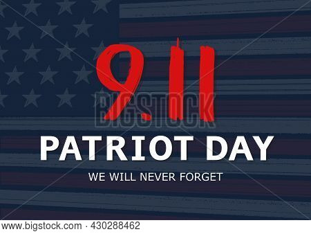 Patriot Day Of Usa Poster. National Day Of Prayer And Remembrance For The Victims Of The Terrorist A