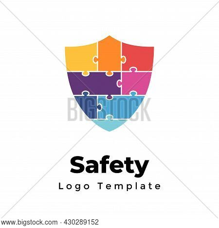 Creative Puzzle Vector Protection Logo. Abstract Shield Sign. Internet Security. Modern Minimalistic